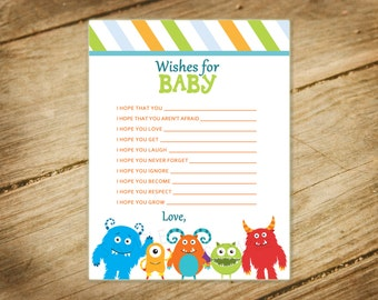 Little Monster Baby Shower Matching Wishes for Baby