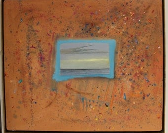 """Contemporary Modern Tom Seghi """"Orange II"""" Oil Painting Signed Dated 1990"""