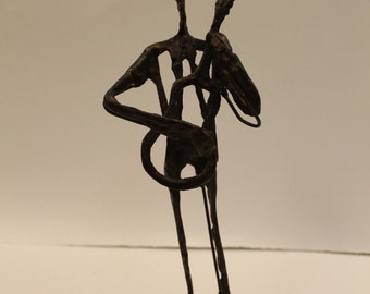 Mid Century Modern Brutalist Figure Instrument Sculpture Giacometti Style