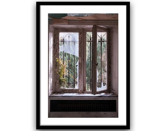 window photo fine art photography print old window decor window art rustic urban decay photography home decor wall art brown giclee