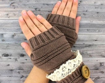 Brown Fingerless gloves with vintage lace trim and button accent