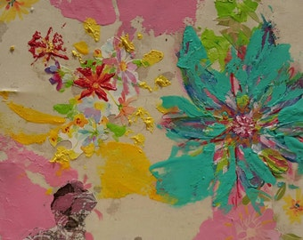 Original Mixed Media Art Collage - Flower 5