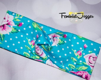Turquoise Floral Turban Headband, Jogging Headbands, Fitness Headbands, Exercise Headbands, Running Accessories, Twist Headbands, Exercise