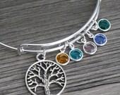 Family Tree Bangle, Family Tree Bracelet, Birthstones Bangle, Personalized, Family Tree, Gifts for Grandma, Grandmothers Gifts, Custom, BC2B