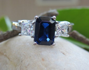 Sapphire Engagement Ring| Natural Blue Emerald Cut Sapphire| Princess Cut Diamonds| 14K White Gold