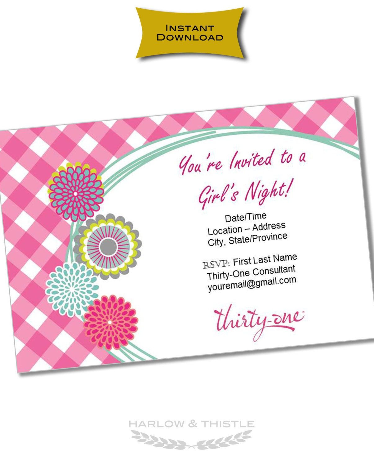 INSTANT DOWNLOAD Thirty-One Gifts Invitation Customizable