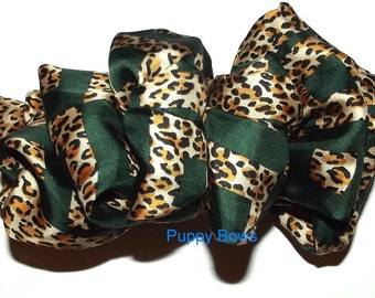 Becky Bows ~OOAK French Barrette Hand crafted GIANT huge Scarf hair bow Women or Girls green animal print
