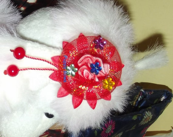 Puppy Bows ~ Blue or Red dog ear bows flowers round pet hair bow barrettes or bands  (fb37)