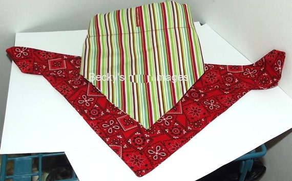 Puppy Bows~2 over the collar dog pet bandana large red green stripes ~US Seller