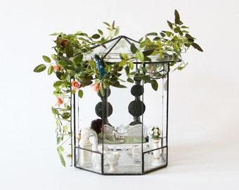 Vintage Glas Voliere, Puppen Pavillon, Garten Glashaus, antikes Puppenhaus, Vogel Voliere