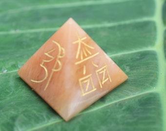 Quartz Reiki Usui Symbol Five Side Engraved Pyramid Healing 40 MM at the base