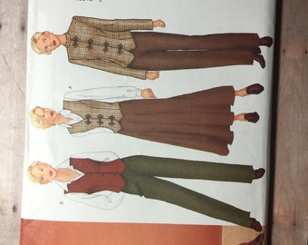 Size 6/8/10. Jacket, Vest, Skirt and Pants. Butterick 6711. Uncut out of print sewing pattern.