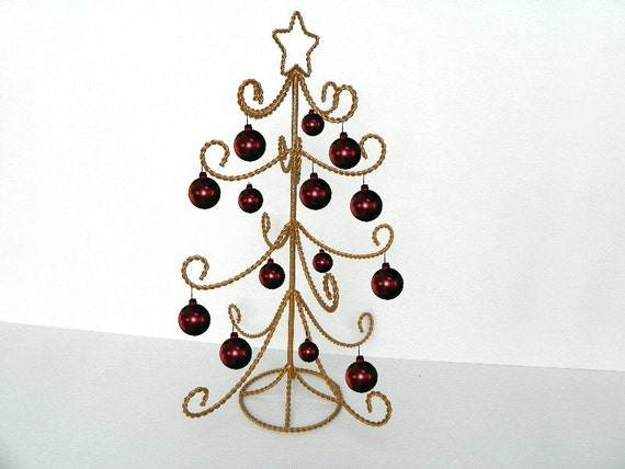 Large tall christmas ornament tree gold by