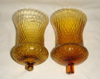 2 Homco Votive Candleholder Amber Glass Honeycomb Slight Damage inv1450