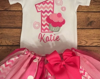 ON SALE Shades of Pink Birthday Cupcake Tutu Outfit