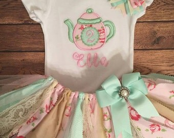 Pink, Mint, and Ivory Tea Pot Birthday Tutu Outift