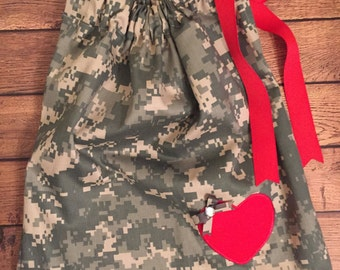 Army ACU Pillow Case Dress With Red Accents