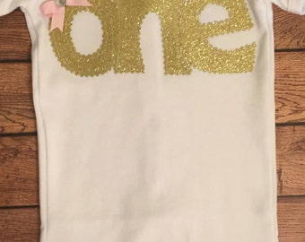 Gold Glitter Birthday Baby Bodysuit or Shirt
