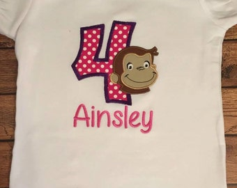 Pink and Purple Birthday Monkey Shirt or Baby Bodysuit
