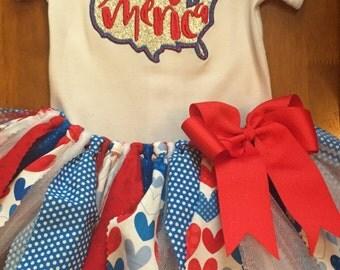 Patriotic 'Merica 4th of July Scrap Fabric Tutu Outfit