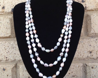 1920s flapper extra long pastel freshwater pearl necklace