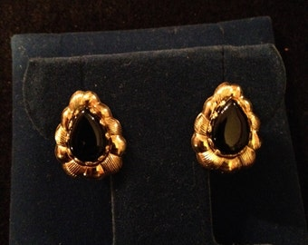 Vintage Signed Carla 14K Gold Filled Onyx Earrings