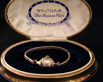 Vintage 14K Gold & Gold Filled 17 Jewels Ladies Waltham First American Watch in Original Box