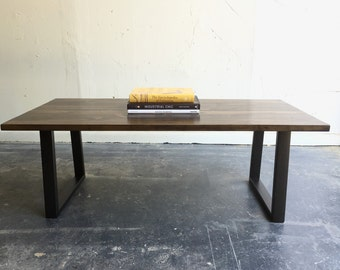 Industrial Modern Wood coffee Table with Steel Legs