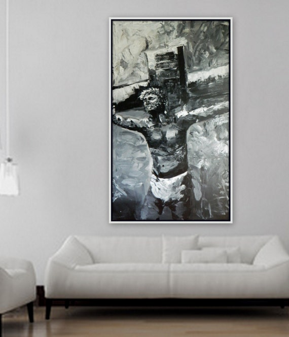 "XL ""My Saviour"" abstract painting of Jesus on cross wall art church christian artwork religious painting large abstract art"
