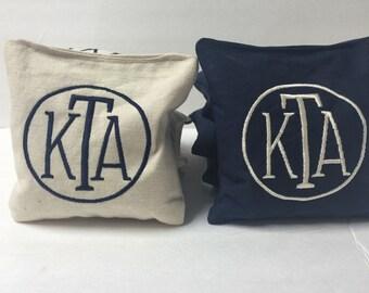 Monogrammed Cornhole Bags, Wedding Corn Hole Bags, Custom Wedding Gift, Personalized Corn Hole Bags, Unique Engagement Gift, Custom Cornhole