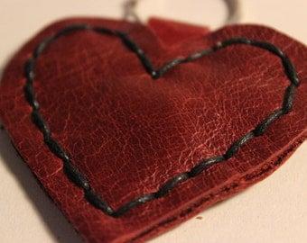 Dark Red Leather Heart Keyring/Keychain