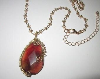 Wire Weaved Pendant, Amber Pendant, Amber Necklace, Gold Wire Weaved, Gold Wire Necklace