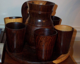 Mid Century Modern Style Wood Pitcher W/Cups & Circular Tray Set of 8