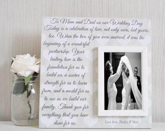 Parents Of The Bride Gift - Parents Of The Groom Gift - Parent Thank You Wedding Gift - Personalized Wedding Frame