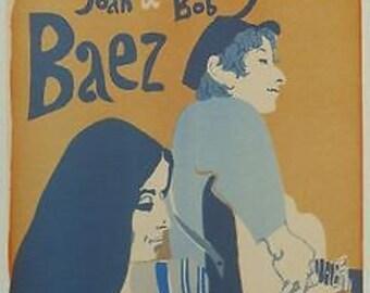 Vintage Bob Dylan Joan Baez Concert Poster A3 Print