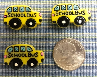 School Bus Flat Back Resins-Cabochon-3 Pieces-Hair Bow Center-Party Decor-Embellishment-Supply-Decor