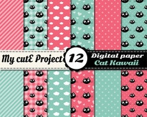 Cat Kawaii - 12 Digital paper - Instant Download - 12X12 inches & A4 - cat, heart, polka dots, stripes, gingham, cloud-Commercial use- N373