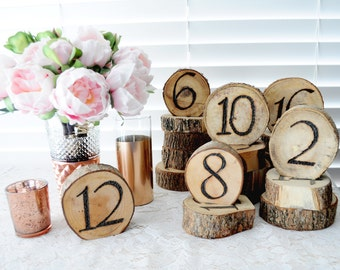 SET 1-20 Rustic Table Numbers Wood Slice Numbers Wood Burned Wedding Table Numbers Set of 20 Natural Wood Slice Rustic Woodland Wedding