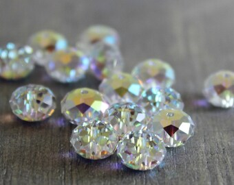 Swarovski 8mm 5040 - Crystal AB  - 40 pieces  - Briolette Bead - Destash - Swarovski Crystal - Jewelry Supplies - Crystal Beads