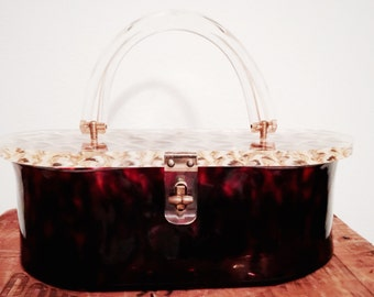 Tortoise Shell Lucite Purse, Terrific Vintage Llewellyn Lucite purse features Translucent Tortoise Lucite and Highly Desirable shape
