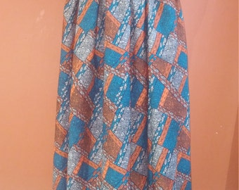 Blue/Orange Maxi Skirt