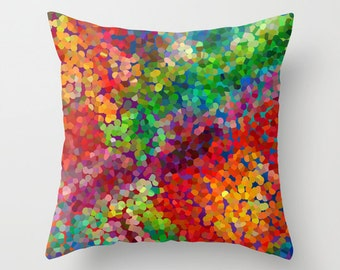 """Artistic Throw Pillow, """"Color Theory"""" Red Blue Green  colorful, modern, jewel tones, pillows, cushions, throw pillow"""