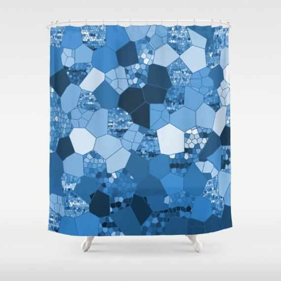 Items similar to beautiful shower curtain blue mosaic for Blue mosaic bathroom accessories