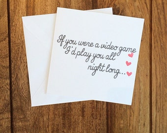 Valentines Day Card, Anniversary Card, Video Game Card, Valentines Day
