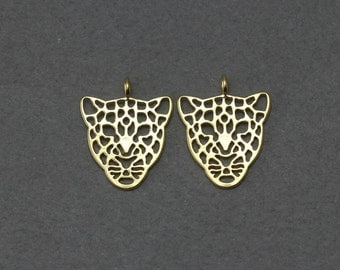 Tiger Brass Pendant . Jewelry Craft Supply . Matte Gold Plated over Brass  / 2 Pcs - FC243-MG
