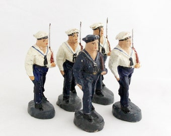 Vintage 1920s Navy Marine Sailor Soldier Cadet Collection 5 x Lisanto Toy Soldiers
