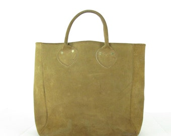Vintage Leather Suede Distressed Tote Purse