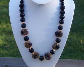 Brown and Black Chunky Beads Necklace