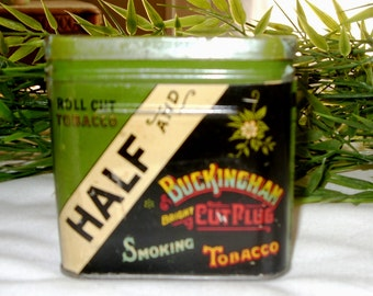 Vintage Tobacco Tin, Half &Half Buckingham Tobacco Container, Collectible Tin, Tobacciana Item,