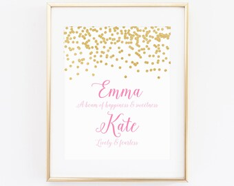 DIGITAL Name Meaning Monogram Art, Gold Pink Girl Nursery Print, Wall Decor, Custom Calligraphy Monogram, Pink Nursery Name Print - ANY SIZE